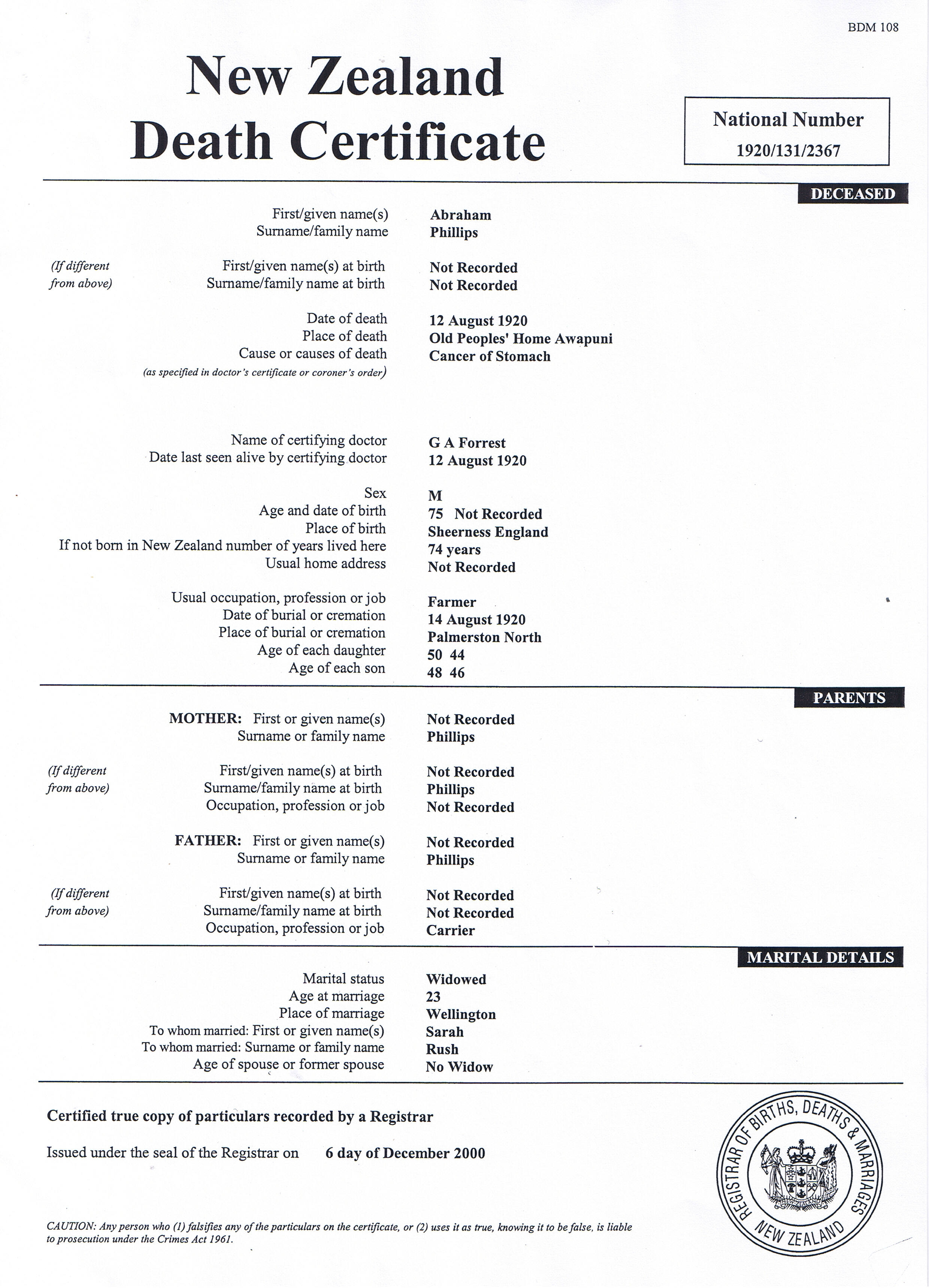 Rush family history the story of the rush family death certificate aiddatafo Images